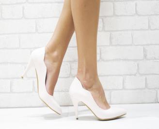 Дамски елегантни обувки еко кожа /лак пудра FUUQ-25717