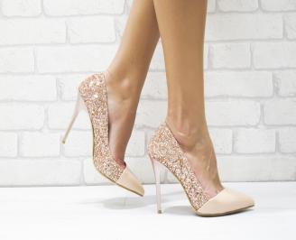 Дамски елегантни обувки еко лак /брокат пудра SCZQ-25718