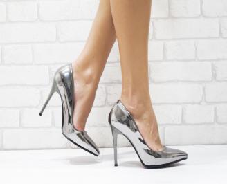 Дамски елегантни обувки еко лак сребристи YYZG-25719