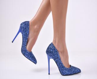 Дамски елегантни обувки еко кожа/брокат сини OHHX-25720