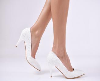 Дамски елегантни обувки еко кожа/ брокат  бели BBPB-25721