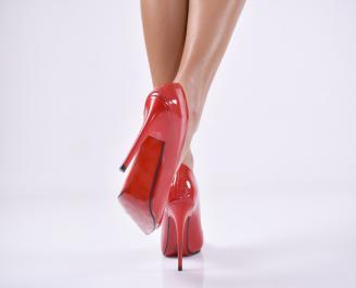 Дамски елегантни обувки еко лак червени FTKE-25723