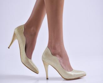 Дамски елегантни обувки еко кожа/брокат златисти PJRH-25726
