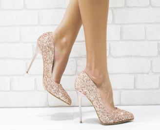 Дамски елегантни обувки еко кожа/брокат пудра NQOI-25727
