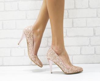 Дамски елегантни обувки еко кожа/брокат пудра FJWZ-25728