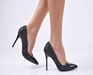 Дамски елегантни обувки еко лак/брокат черни TUOR-25735