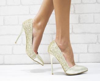 Дамски елегантни обувки еко кожа/брокат златисти WLYH-25736