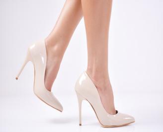 Дамски елегантни обувки еко лак бежови FVCJ-25737
