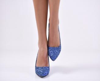 Дамски елегантни обувки еко кожа/брокат сини QRTA-25738