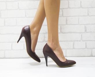 Дамски елегантни обувки еко кожа бордо