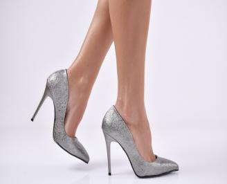 Дамски елегантни обувки еко кожа тъмно сребристи UBKV-25742