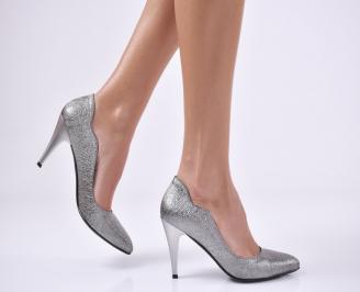 Дамски елегантни обувки еко кожа тъмно сребристи LKCR-25743