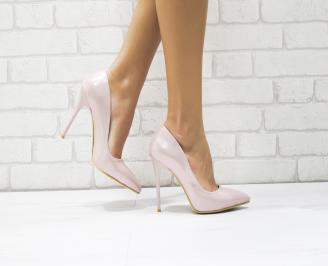 Дамски елегантни обувки еко лак пудра RUQO-25744