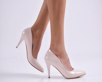 Дамски елегантни обувки еко лак пудра YCWQ-25746