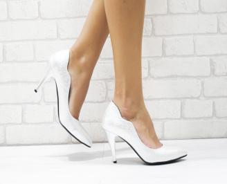 Дамски елегантни обувки еко кожа сребристи GEEF-25750