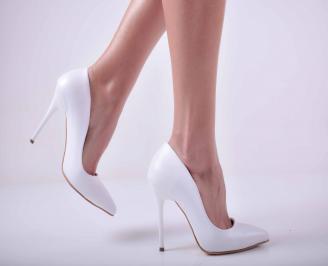 Дамски елегантни обувки еко кожа бели TCVR-25753
