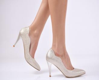 Дамски елегантни обувки еко кожа златисти ELOX-25755