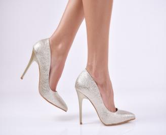 Дамски елегантни обувки еко кожа златисти SHOY-25756