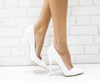 Дамски елегантни обувки еко лак/ брокат бели TPXN-25757