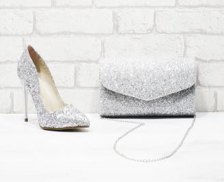 Дамски елегантни обувки еко кожа/брокат сребристи GJGC-26013