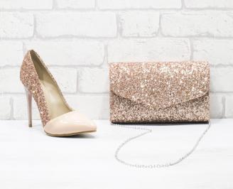 Дамски елегантни обувки еко лак /брокат пудра DTDH-26016