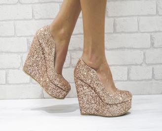 Дамски елегантни обувки на платформа  еко кожа/брокат розови NYJC-26079