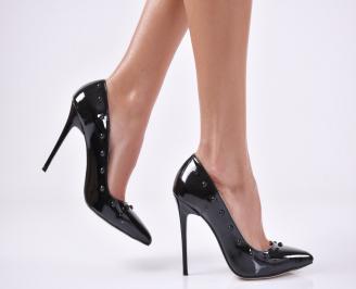 Дамски елегантни обувки еко кожа/лак черни FBHJ-26119