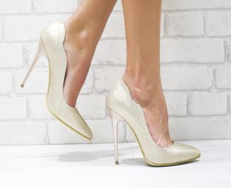 Дамски елегантни обувки еко кожа/брокат златисти
