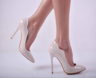 Дамски елегантни обувки еко кожа/лак бежови LWSA-26131
