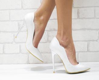 Дамски елегантни обувки еко кожа/брокат сребристи FHXL-26132