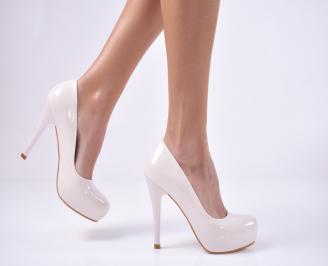 Дамски елегантни обувки еко кожа/лак бежови AMIQ-26134