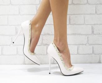 Дамски елегантни обувки еко кожа/лак пудра FMYD-26136