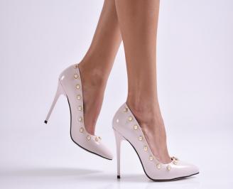 Дамски елегантни обувки еко кожа/лак пудра DWYU-26138