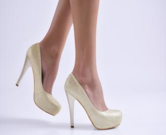 Дамски елегантни обувки еко кожа/брокат златисти GMZH-26512