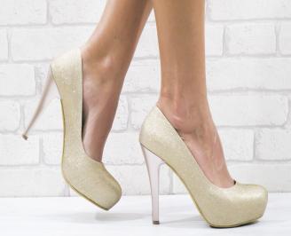Дамски елегантни обувки еко кожа/брокат пудра