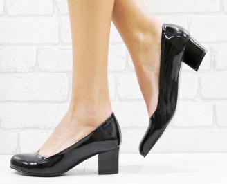 Дамски елегантни обувки еко кожа/лак черни EACU-26516