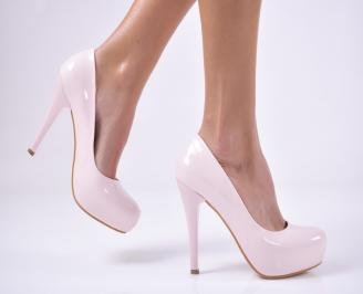 Дамски елегантни обувки еко кожа/лак розови MZEM-26518