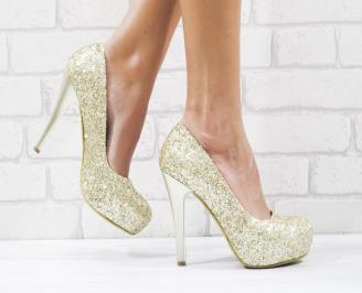 Дамски елегантни обувки еко кожа/брокат златисти AENV-26519