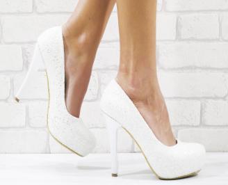 Дамски елегантни обувки еко кожа/брокат бели BGIF-26521