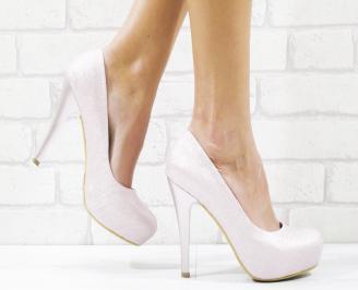 Дамски елегантни обувки еко кожа/брокат розови