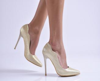 Дамски елегантни обувки еко кожа/брокат златисти WDAQ-26531
