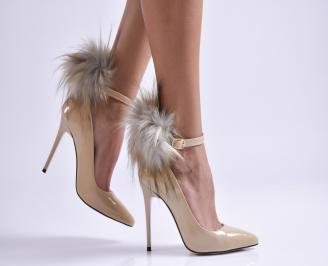 Дамски елегантни обувки еко кожа/лак бежови VEDO-26532