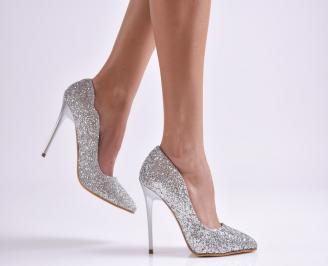 Дамски елегантни обувки еко кожа/брокат сребристи EZNN-26535