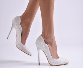 Дамски елегантни обувки еко кожа/брокат бели IVMT-26537