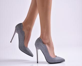 Дамски елегантни обувки еко кожа/брокат сиви JVUX-26538