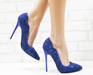 Дамски елегантни обувки еко кожа/брокат сини OSRL-26539
