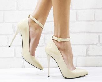 Дамски елегантни обувки еко кожа/лак бежови JZIV-26559