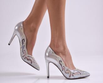 Дамски елегантни обувки еко кожа сребристи BTVV-26598