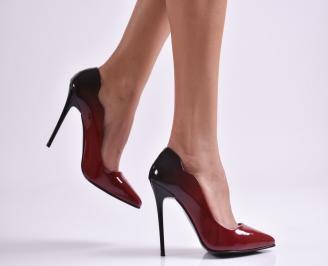 Дамски елегантни обувки еко лак бордо LZBE-26883