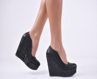 Дамски елегантни обувки на платформа  еко кожа черни CYXS-26990